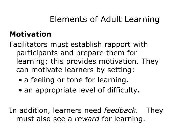 Elements of Adult Learning