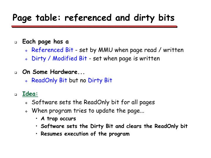 Page table: referenced and dirty bits