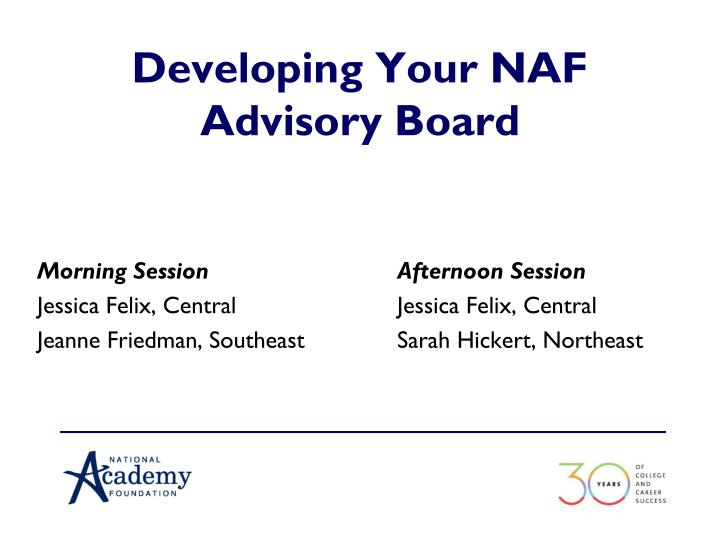 Developing your naf advisory board