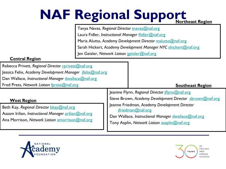NAF Regional Support