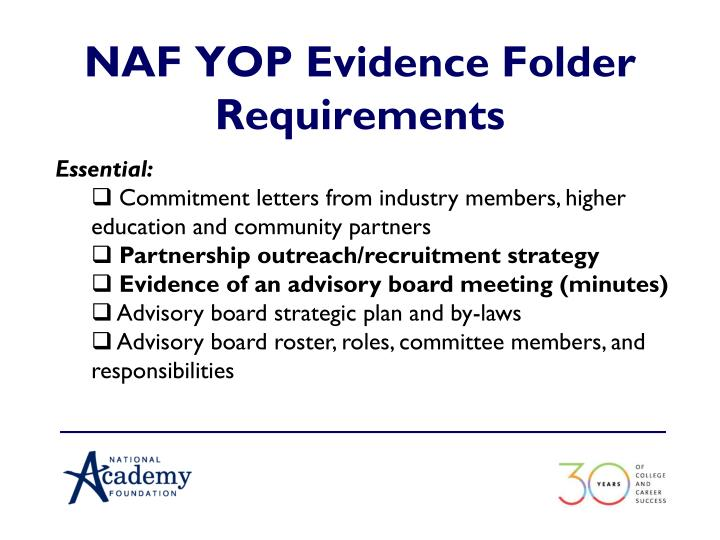 NAF YOP Evidence Folder Requirements