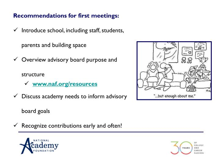 Recommendations for first meetings: