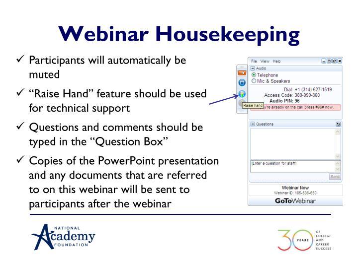 Webinar Housekeeping
