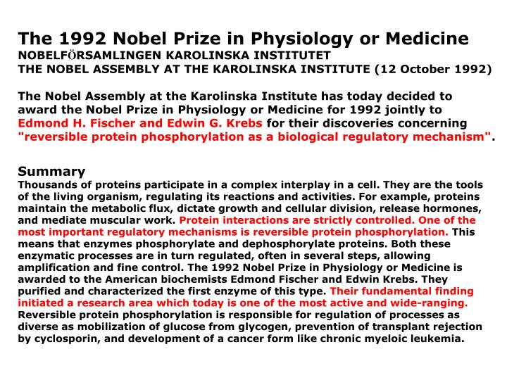 The 1992 Nobel Prize in Physiology or Medicine