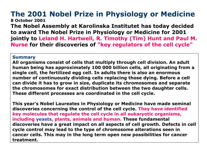 The 2001 Nobel Prize in Physiology or Medicine