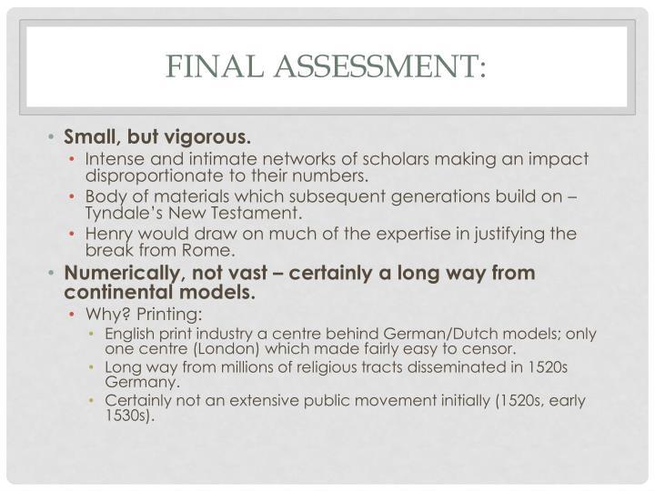 Final Assessment: