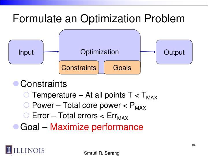 Formulate an Optimization Problem