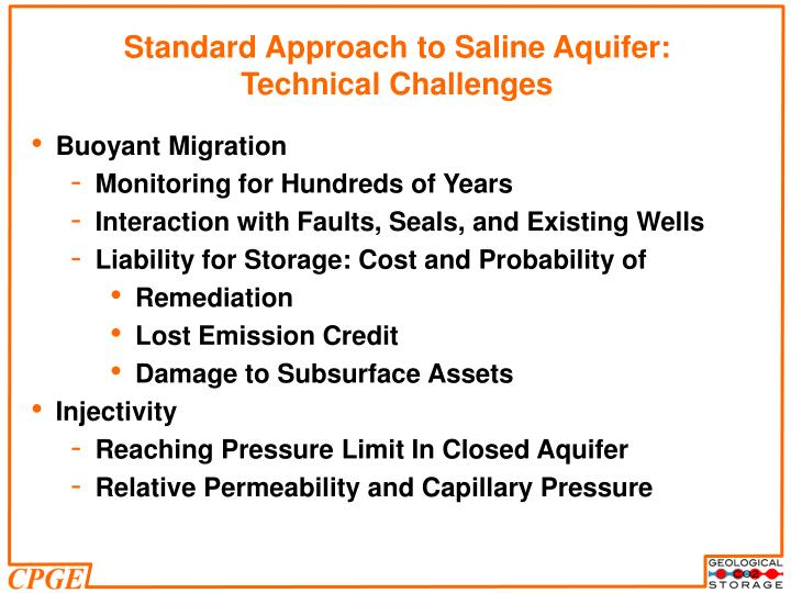 Standard Approach to Saline Aquifer: