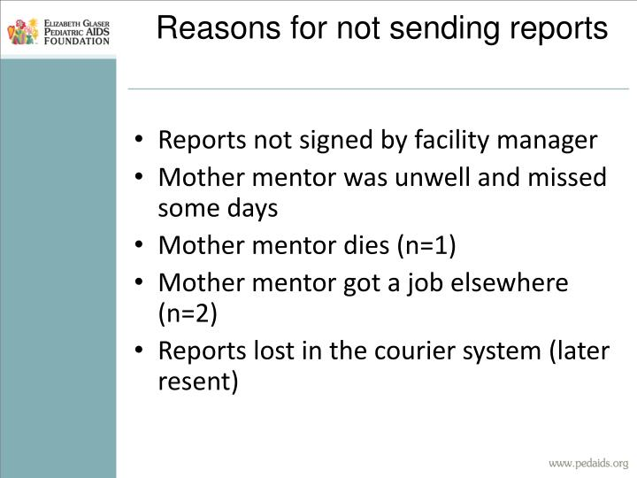 Reasons for not sending reports