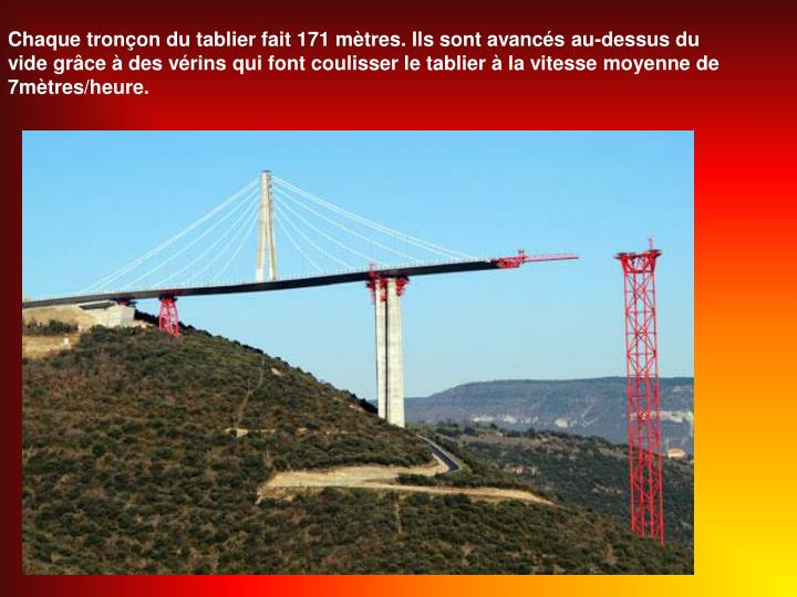 Chaque tronon du tablier fait 171 mtres. Ils sont avancs au-dessus du vide grce  des vrins qui font coulisser le tablier  la vitesse moyenne de 7mtres/heure.