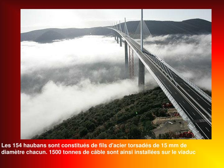 Les 154 haubans sont constitués de fils d'acier torsadés de 15 mm de diamètre chacun. 1500 tonnes de câble sont ainsi installées sur le viaduc