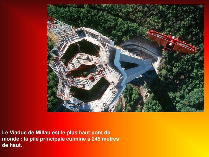 Le Viaduc de Millau est le plus haut pont du monde : la pile principale culmine  245 mtres de haut.
