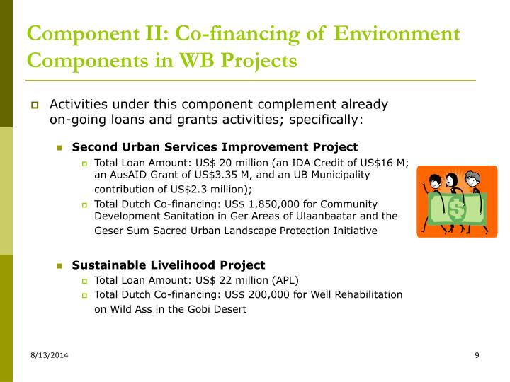 Component II: Co-financing of Environment Components in WB Projects