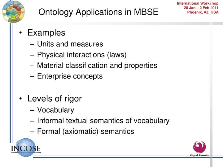 Ontology Applications in MBSE