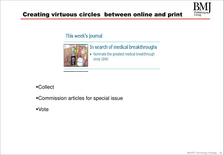 Creating virtuous circles  between online and print