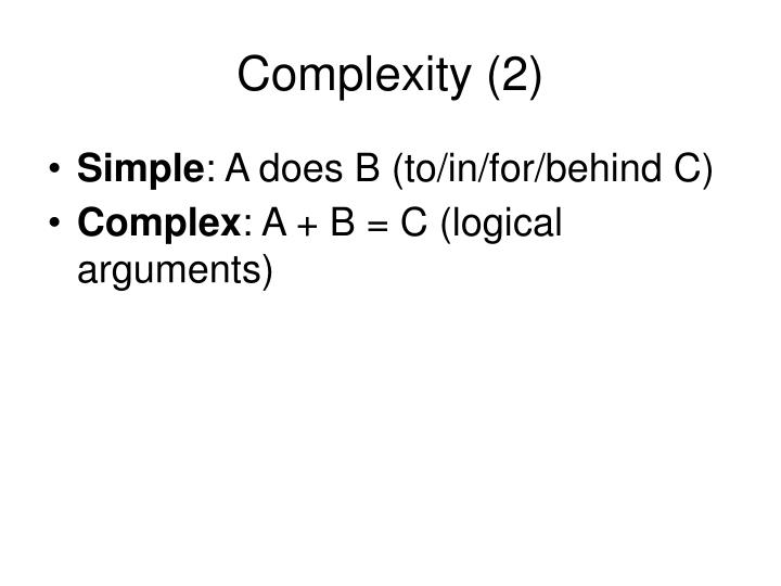 Complexity (2)
