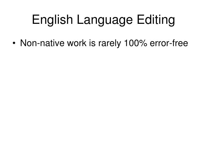 English Language Editing