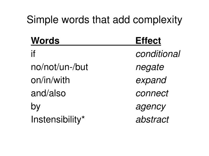 Simple words that add complexity