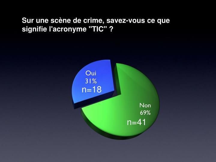 """Sur une scène de crime, savez-vous ce que signifie l'acronyme """"TIC""""?"""