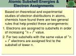 atomic subshell energies electron assignments