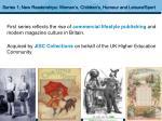 series 1 new readerships women s children s humour and leisure sport