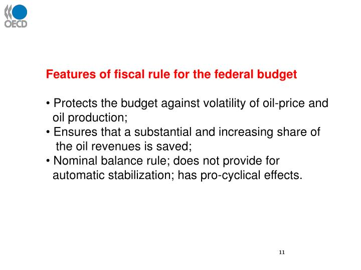 Features of fiscal rule for the federal budget