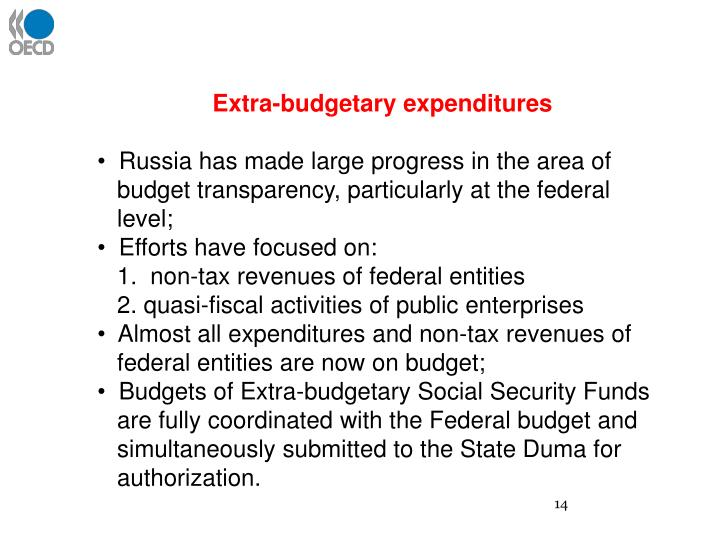 Extra-budgetary expenditures