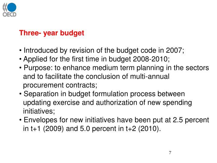 Three- year budget
