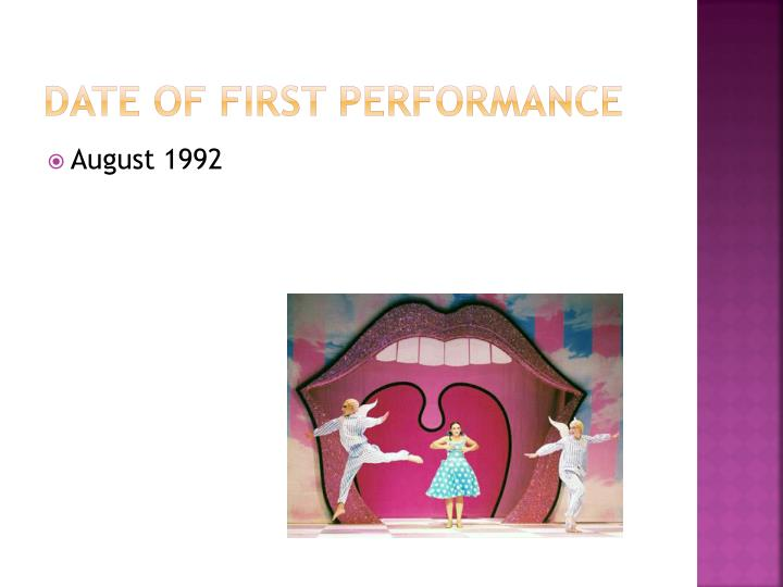 Date of first performance