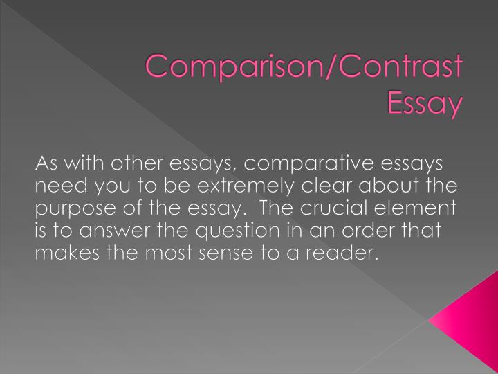 comparison contrast essay powerpoint Comparison contrast essay 28,255 views about comparison/contrast choose two subjects that have something in common powerpoint 2016 essential training.