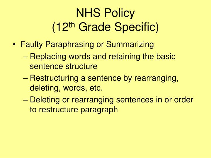 NHS Policy