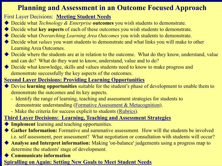 Planning and Assessment in an Outcome Focused Approach