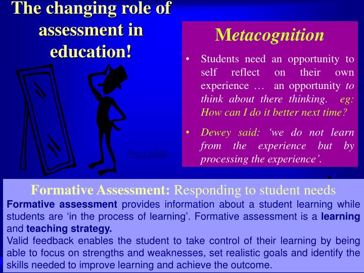 The changing role of assessment in education!