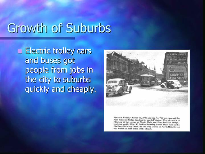 Growth of Suburbs