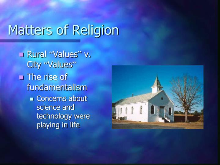 Matters of Religion