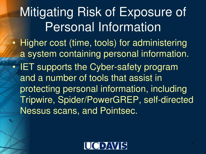 Mitigating Risk of Exposure of Personal Information