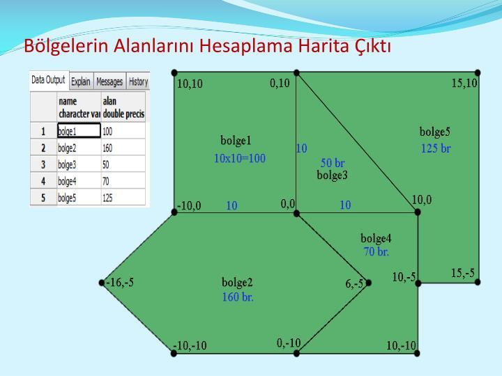Bölgelerin Alanlarını Hesaplama Harita Çıktı