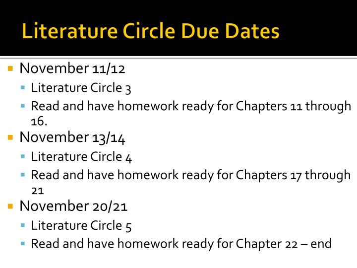 Literature Circle Due Dates