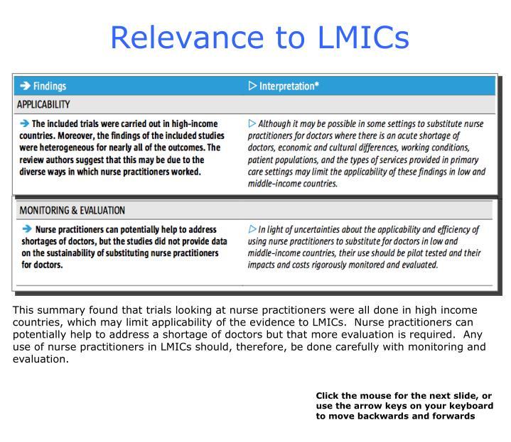Relevance to LMICs