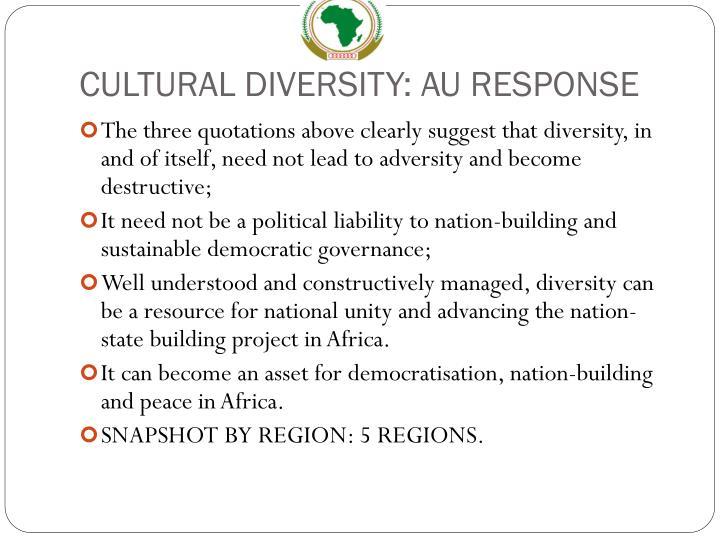 CULTURAL DIVERSITY: AU RESPONSE