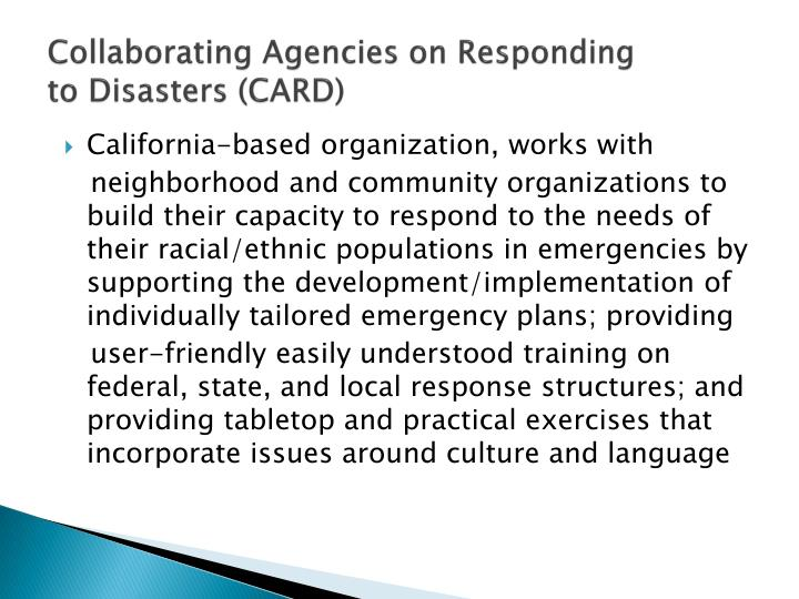 Collaborating Agencies on Responding