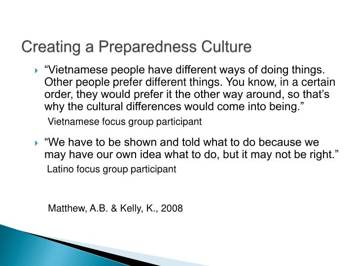 Creating a Preparedness Culture