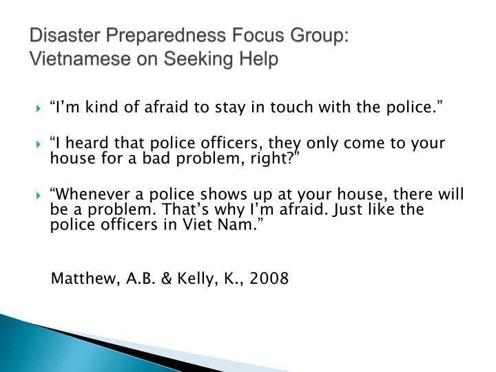 Disaster Preparedness Focus Group: