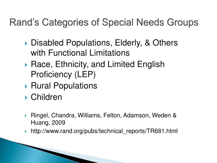 Rand's Categories of Special Needs Groups