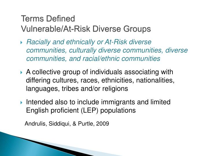 Terms defined vulnerable at risk diverse groups