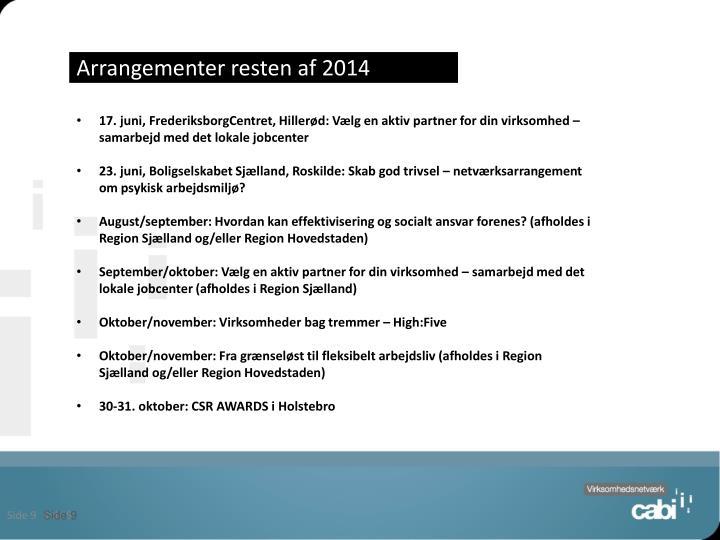 Arrangementer resten af 2014