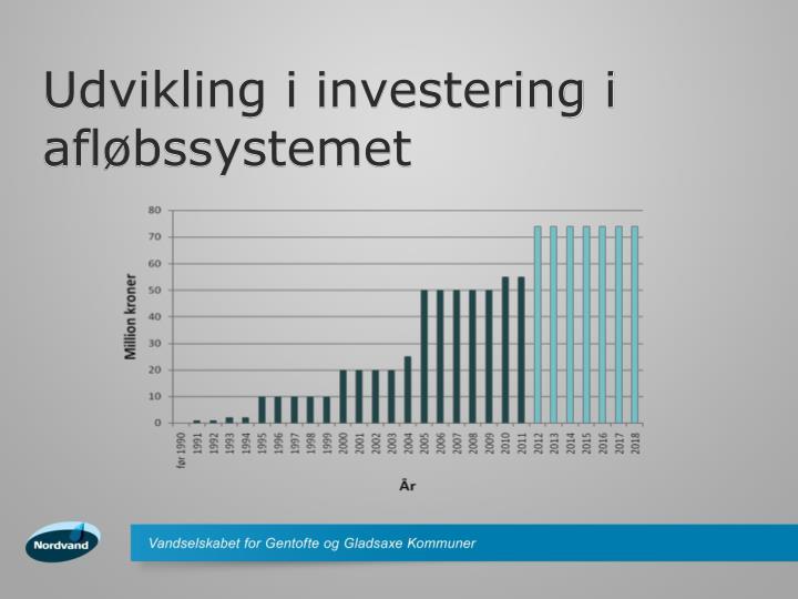 Udvikling i investering i afløbssystemet