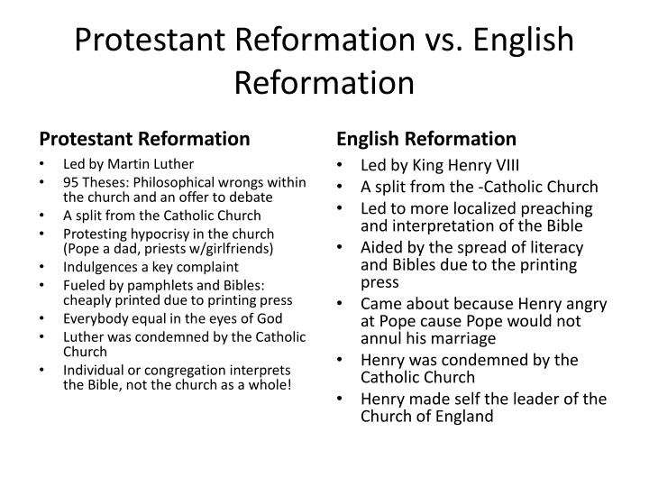 Protestant reformation vs english reformation