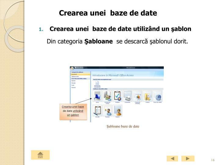 Crearea unei baze de date