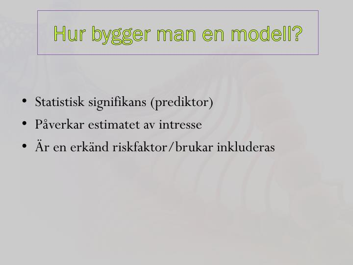 Hur bygger man en modell?